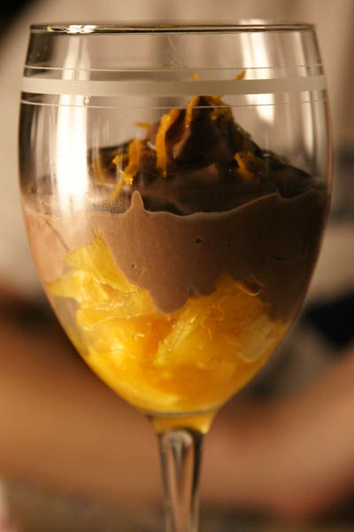 Picture of oranges covered with chocolate mousse